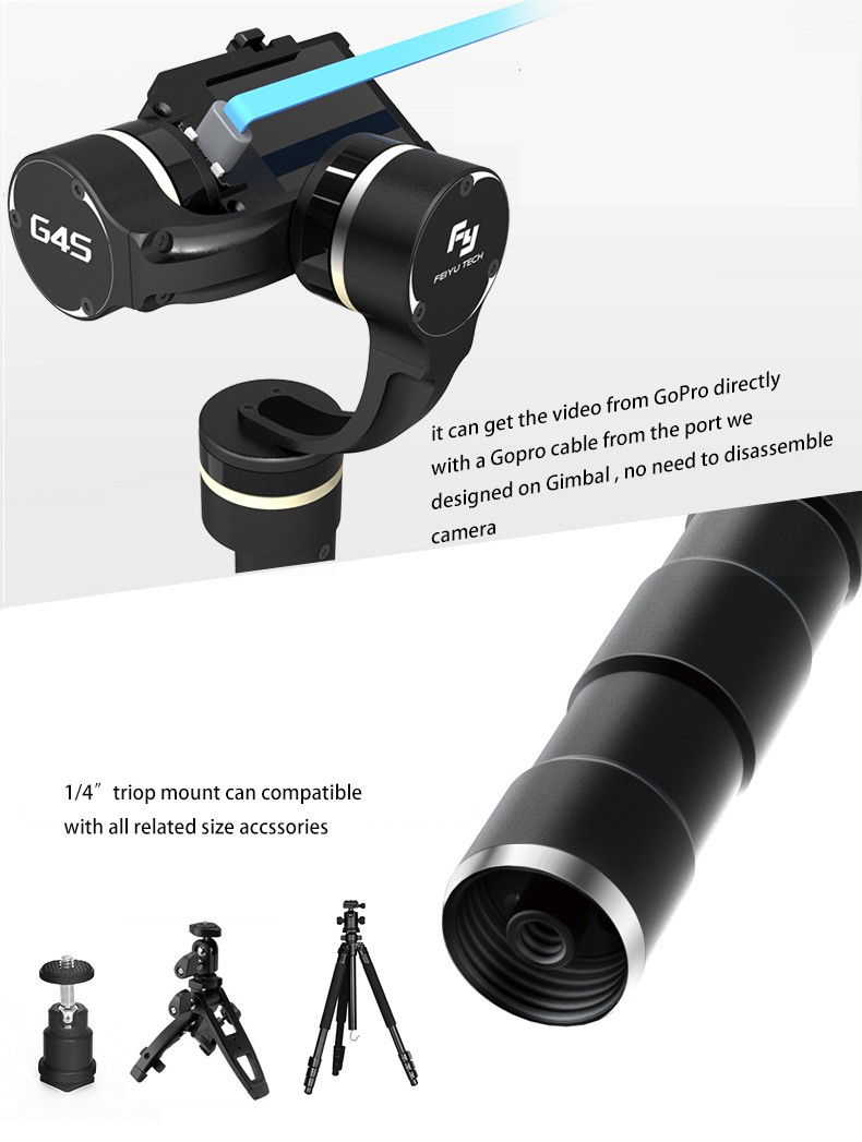 Feiyu Tech G4S 3-Axis Handheld Gimbal gopro data interface & 1.4 tripod mount