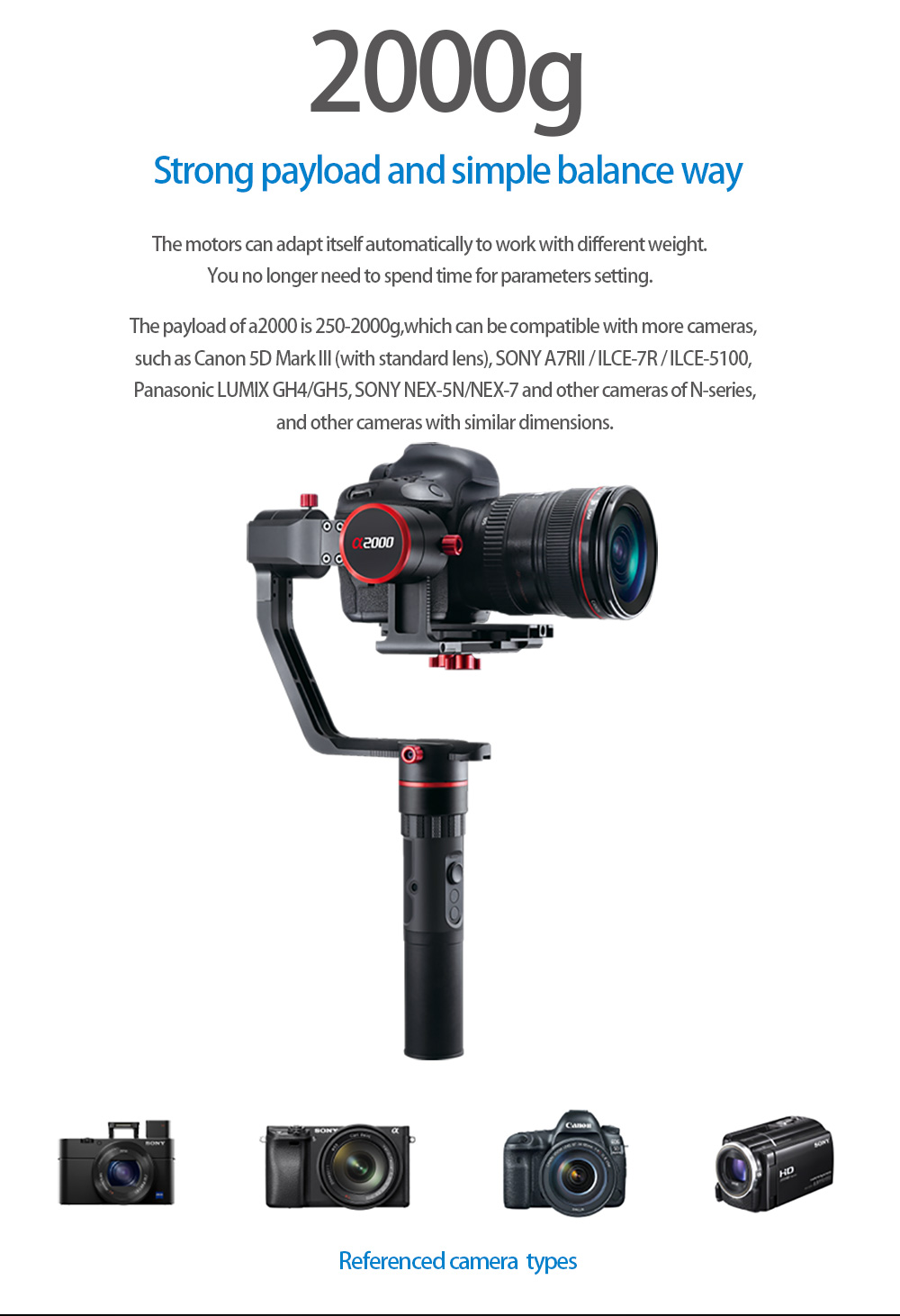 feiyu a2000 FeiyuTech α2000 3-Axis Gimbal Dual Handheld Grip for Mirrorless, DSLR Cameras